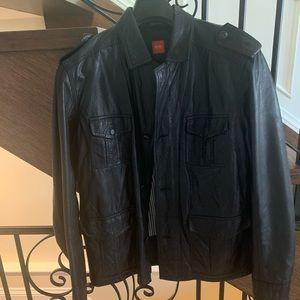 Hugo Boss men's Leather Jacket sz L